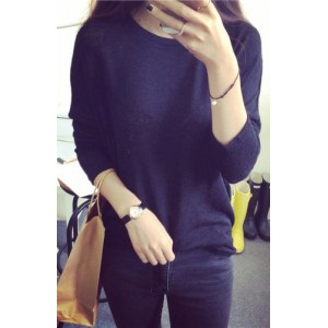 Scoop Neck Solid Color Long Sleeves Stylish Sweater For Women white black gray