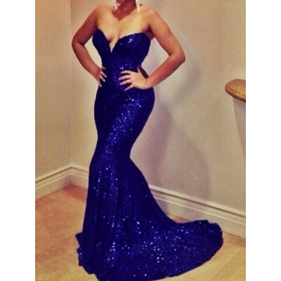 Sequins Embellished Mermaid Sexy Strapless Women's Maxi Dress blue