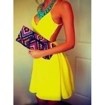 Sexy Halter Sleeveless Solid Color Backless Dress For Women yellow
