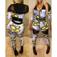 Sexy Hooded Long Sleeve Spliced See-Through Printed Jumpsuit For Women