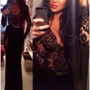 Sexy Long Sleeve Plunging Neck See-Through Lace Spliced Dress For Women black