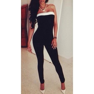 Sexy Off The Shoulder Patchwork Black Women's One-piece Skinny Jumpsuit