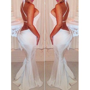 Sexy One-Shoulder Sleeveless Backless Solid Color Dress For Women white black red