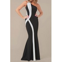 Sexy One-Shoulder Sleeveless Color Block Maxi Dress For Women black