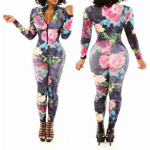 Sexy Plunging Neck Long Sleeve Floral Print Bodycon Jumpsuit For Women