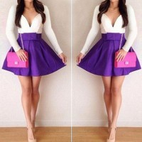 Sexy Plunging Neck Long Sleeve Spliced Bowknot Embellished Dress For Women purple