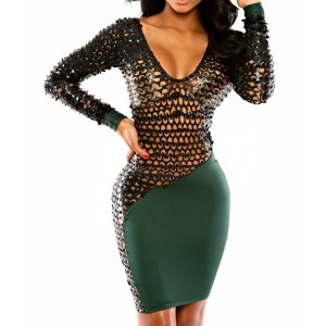 Sexy Plunging Neck Long Sleeve Spliced Hollow Out Dress For Women green