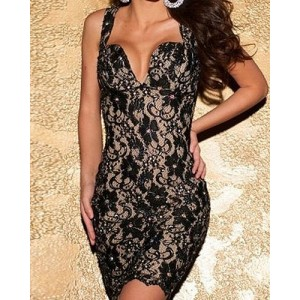 Sexy Plunging Neck Sleeveless Backless Bodycon Lace Dress For Women pink black blue