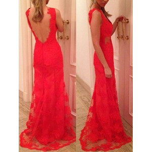 Sexy Plunging Neck Sleeveless Backless Lace Dress For Women red