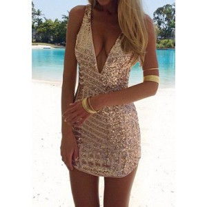 Sexy Plunging Neck Sleeveless Sequined Bodycon Dress For Women gold