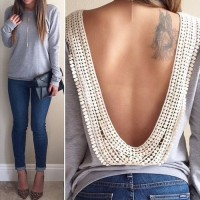 Sexy Round Collar Long Sleeve Spliced Backless T-Shirt For Women gray
