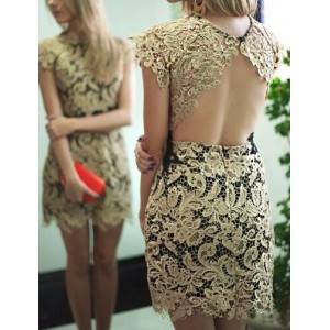Sexy Round Collar Short Sleeve Backless Lace Dress For Women