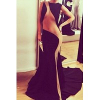 Sexy Round Collar Sleeveless Spliced See-Through Maxi Dress For Women black