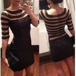 Sexy Round Neck 1/2 Sleeve Sequined See-Through Dress For Women black