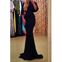 Sexy Round Neck 3/4 Batwing Sleeve Spliced Maxi Dress For Women black