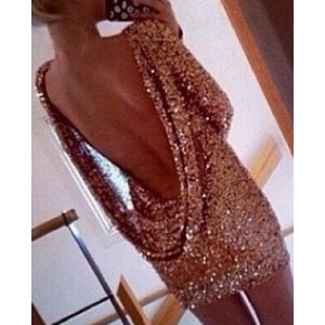 Sexy Round Neck Long Sleeve Backless Bodycon Dress For Women gold
