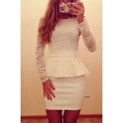 Sexy Round Neck Long Sleeve Spliced Flounced Dress For Women white blue green