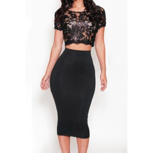 Sexy Round Neck Short Sleeve See-Through Crop Top + High-Waisted Skirt Twinset For Women black