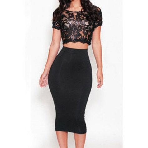 a3adf700c1c ... See-Through Crop Top + High-Waisted Skirt Twinset Zoom. Product ...
