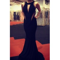 Sexy Round Neck Sleeveless See-Through Spliced Dress For Women black