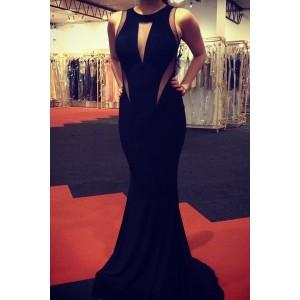 Sexy Round Neck Sleeveless See-Through Spliced Dress For Women black