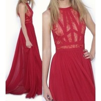 Sexy Round Neck Sleeveless Spliced See-Through Dress For Women red