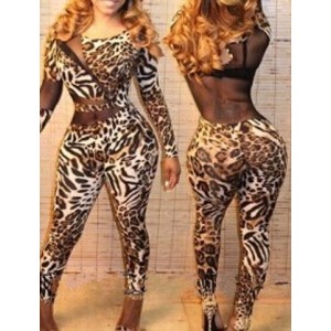 Sexy Scoop Neck Long Sleeve Spliced See-Through Leopard Print Jumpsuit For Women