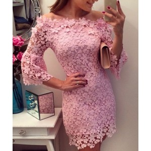 Sexy Slash Collar 3/4 Sleeve Solid Color Lace Dress For Women pink