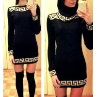 Sexy Slash Collar Long Sleeve Printed Bodycon Dress For Women black apricot