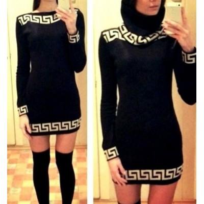 Sexy Slash Collar Long Sleeve Printed Bodycon Dress For Women black apricot