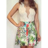 Sexy Sleeveless Plunging Neck Spliced Printed Dress For Women white