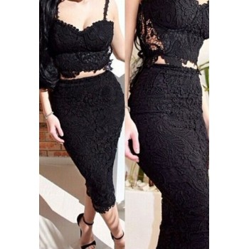 Sexy Spaghetti Strap Sleeveless Lace Tank Top + High-Waisted Skirt Twinset For Women white black