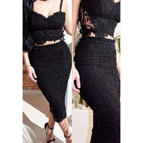 Sexy Spaghetti Strap Sleeveless Lace Tank Top   High-Waisted Skirt ...