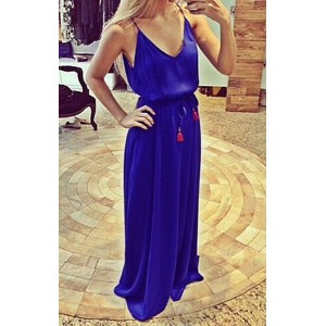 Sexy Spaghetti Strap Sleeveless Low Cut Furcal Dress For Women purple blue