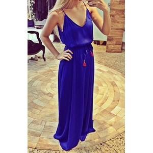 Sexy Spaghetti Strap Sleeveless Low Cut Furcal Dress For Women purple blue