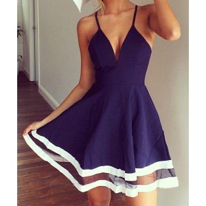 Sexy Spaghetti Strap Sleeveless Low Cut Spliced Dress For Women white blue