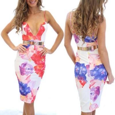 Sexy Spaghetti Strap Sleeveless Printed Low Cut Dress For Women