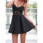 Sexy Spaghetti Strap Sleeveless Solid Color Spliced Low Cut Dress For Women black