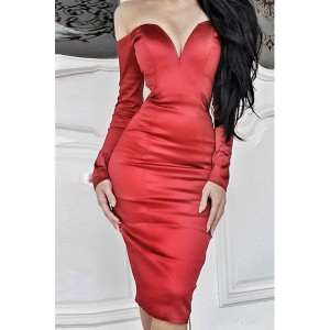Sexy Strapless Long Sleeve Solid Color Dress For Women blue red