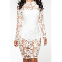 Sexy Strapless Sleeveless Solid Color Inner + Lace See-Through Dress Twinset For Women white