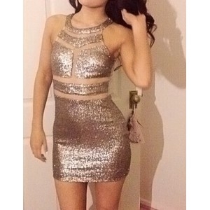 Sexy Style Keyhole Neckline Openwork Sequin Splicing Sleeveless Women's Bodycon Dress golden