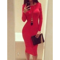 Sexy Style Round Neck Backless Solid Color Long Sleeve Women's Dress red