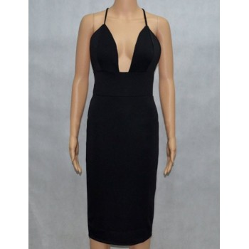Sexy Style Spaghetti Strap Backless Solid Color Sleeveless Women's Dress black nude
