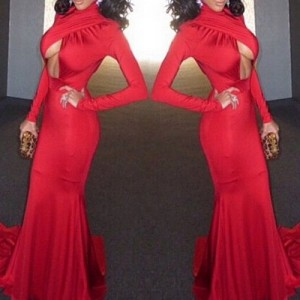 Sexy Turtle Neck Long Sleeve Solid Color Hollow Out Dress For Women red