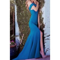Sexy Women's Halter Solid Color Mermaid Dress black blue