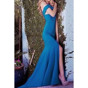 Sexy Women's Halter Solid Color Mermaid Dress black blue