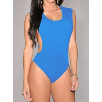 Sexy Women's Scoop Neck Zippered Solid Color One-Piece blue black