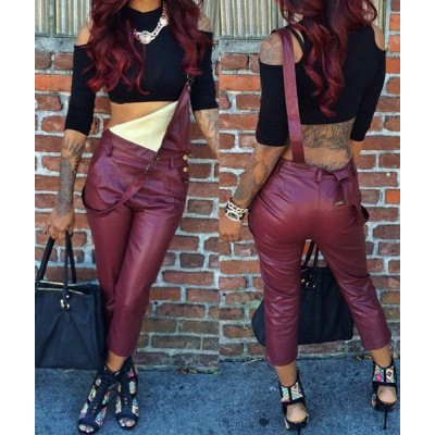 Sexy Women's Solid Color PU Leather Overalls wine red