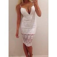Sexy Women's Spaghetti Strap Bodycon Lace Dress white