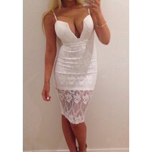 Sexy Women's Spaghetti Strap Bodycon Lace Dress white